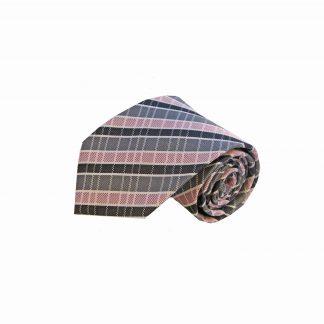 Pink Gray Black Plaid Men's Tie