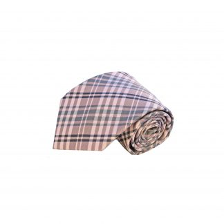 Pink Gray Plaid Men's Tie and Pocket Square