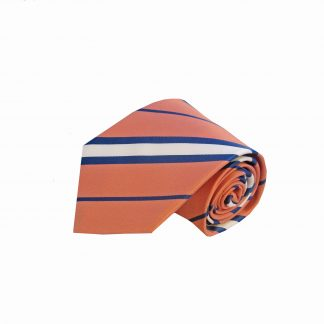 Salmon, Navy Stripe Tie and Pocket Square