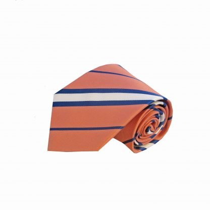 Salmon, Navy Stripe Tie and Pocket Square