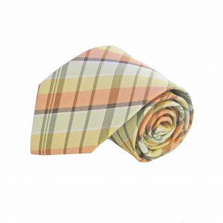 Yellow, Salmon, Sage Plaid Men's Tie