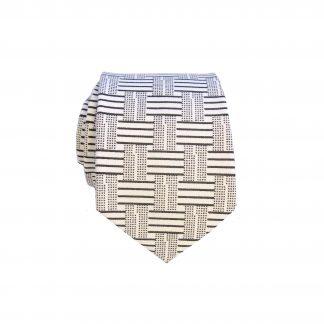 Black White Graphic Pattern Cotton Men's Skinny Tie