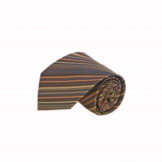 Brown, Taupe, Orange Stripe Men's Tie, 205-0