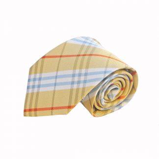 Yellow, Light Blue, Orange Plaid Men's Tie