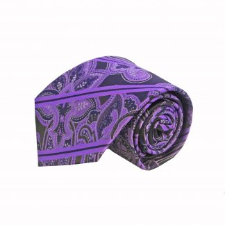 Purple, Black Paisley Men's Tie w/Pocket Square, 6563-0