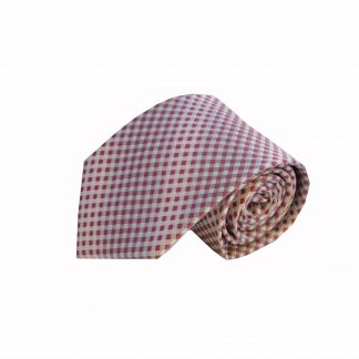Pink, Silver Small Check Men's Tie, 8117-0
