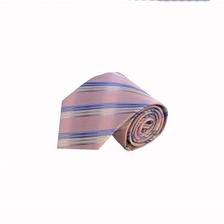 Pink, French Blue Stripe Men's Tie, 8566-0