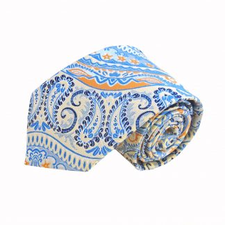 Light Blue Orange Paisley Men's Tie and Pocket Square Set