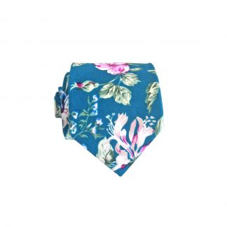 "49"" Boys Navy, Pink Floral Cotton Tie 9484-0"