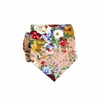 "49"" Boys Self Tie Mauve, Cream Floral Cotton Tie 10169-0"