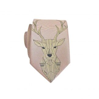 Deer Head Salmon Taupe Men's Skinny Tie 7907-0