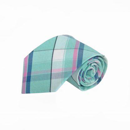 Aqua, Navy, Pink, White Plaid Cotton Men's Tie 6463-0
