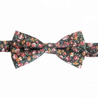 Black, Burgundy, Mauve, Yellow, Green Floral Cotton Banded Bow Tie 3154-0