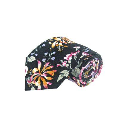 Black, Pink, Yellow, Lavender Floral Cotton Men's Tie 10818-0