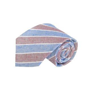 Blue, Burgundy Stripe Cotton Men's Tie 216-0