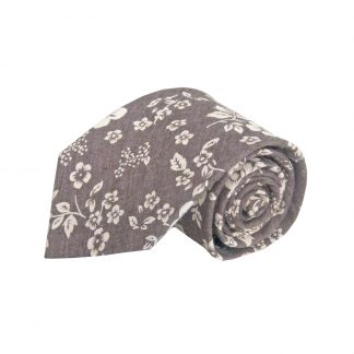Brown, Tan Floral Cotton Men's Tie 5256-0