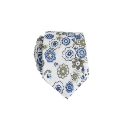 Cream, Blue Floral Cotton Skinny Men's Tie 9298-0