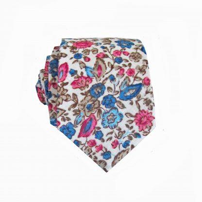 Cream, Blue, Pink Floral Cotton Skinny Men's Tie 9297-0