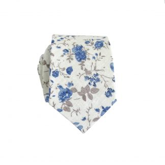 Cream, Blue,Taupe Floral Cotton Men's Skinny Tie 9502-0