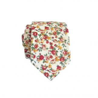 Cream, Burgundy Floral Cotton Men's Skinny Tie 9299-0