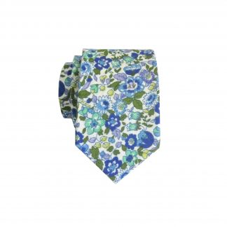 Cream, Green, Blue, Purple Floral Cotton Men's Skinny Tie 4841-0