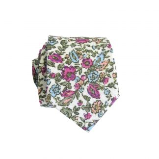 Cream, Pink Floral Cotton Men's Skinny Tie 5939-0