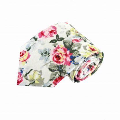 Cream, Yellow, Pink Large Floral Cotton Men's Tie 4494-0