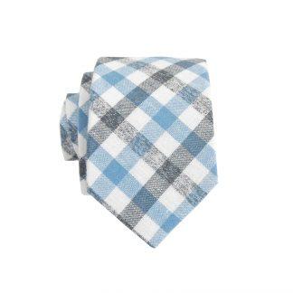 French Blue, Black, White Criss Cross Skinny Men's Tie 9935-0