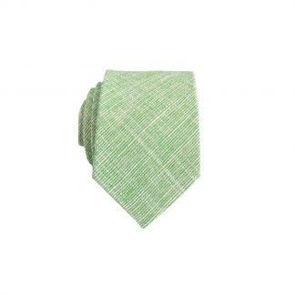 Green, Cream Weave Cotton Skinny Men's Tie 4491-0