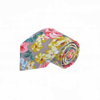 Khaki, Yellow, Salmon Floral Cotton Men's Tie 4486-0