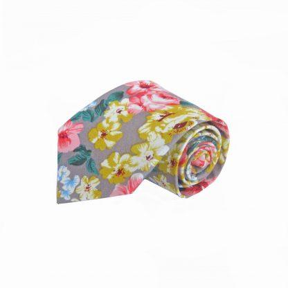 Khaki, Yellow, Salmon Floral Cotton Men's Tie 4486-0