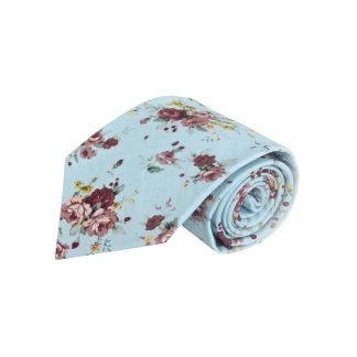 Light Blue, Burgundy, Yellow Floral Cotton Men's Tie 5535-0