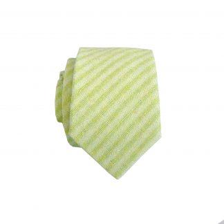 Lime Tone on Tone Stripe Cotton Skinny Men's Tie 8390-0