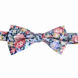 Navy, Pink Floral Cotton Banded Bow Tie 6814-0
