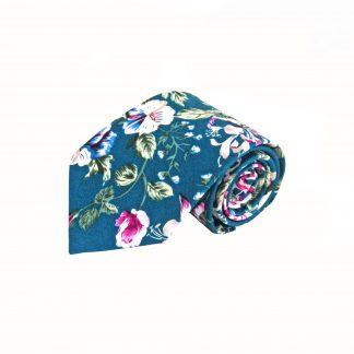 Navy, Pink, Green Large Floral Cotton Men's Tie 2137-0