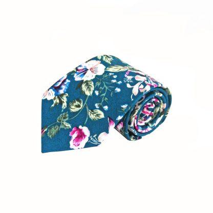 Navy, Pink, Green Large Floral Cotton Men's Tie 2137-0