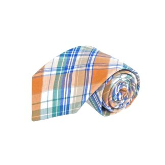 Orange, Green, Blue, White Plaid Cotton Men's Tie 5742-0
