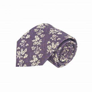Purple, Cream Floral Cotton Men's Tie 2980-0
