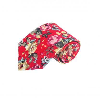 Red, Green, Yellow Floral Cotton Men's Tie 6477-0