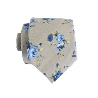 Tan, Blue Floral Cotton Men's Skinny Tie 6809-0