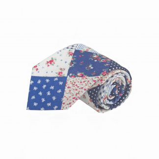 Navy, Red, Cream Patchwork Cotton Men's Tie 206-0