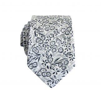 White, Black Floral Cotton Men's Skinny Tie 4323-0