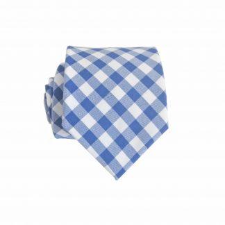 """49"""" Boy's Blue, White Check Cotton Tie 2773-0"""