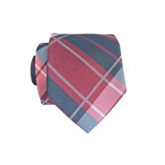 Burgundy, Navy Plaid Skinny Men's Tie w/Pocket Square 4606-0