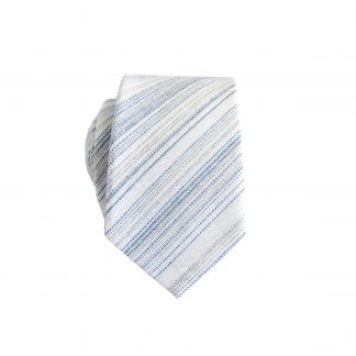 Cream, Light Blue, Sage Stripe Cotton Skinny Men's Tie 6127-0