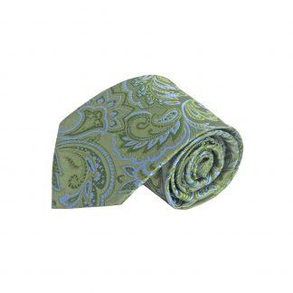 Dark Olive, Light Blue Floral Silk Men's Tie 7636-0