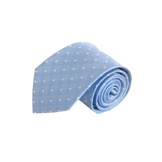 French blue with White Dots Silk Men's Tie 4263-0