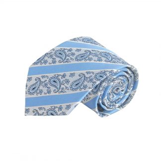 Light Blue, Gray Paisley Stripe Men's Tie w/Pocket Square 3443-0