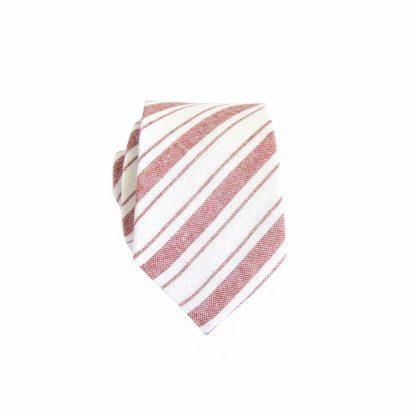 Muted Red, White Stripe Cotton Skinny Men's Tie 3156-0