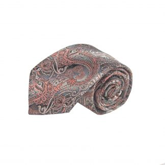 Peach,Charcoal, Gray Paisley Men's Tie w/Pocket Square 8562-0